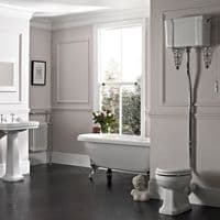 Tavistock Vitoria High Level WC Pan, Cistern & Chrome Downpipe